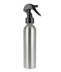 250 ml (8 oz) Aluminum Slimline Bottle with Black Trigger Sprayer