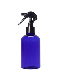 4 oz Cobalt BLUE Plastic PET Boston Round Bottle w/ Black Mini Trigger Spray