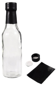 5 oz clear glass woozy sauce bottle - Complete Set of Bottles with Shrink Sleeve, Bottles, and Lids  - pack of 24