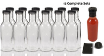 12 oz Round Sauce Bottle - Complete Set of Bottles with Shrink Sleeve, Bottles, and Lids  - pack of 12