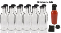 12 oz Round Sauce Bottle - Complete Set of Bottles with Shrink Sleeve, Bottles, and Lids  - pack of 24
