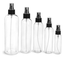 4 oz Clear PET Cosmo Plastic Bottle w/ Black Atomizer