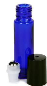 1/3 oz (10ml) Cobalt Blue Glass Roll on Bottles w/ METAL Roller Ball and Cap