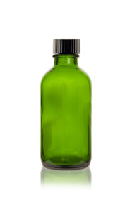 2 oz Green Boston Round Glass Bottle  w/ Black Poly Seal Cone Cap
