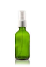 2 oz Green Boston Round Glass Bottle  w/ White Fine Mist Sprayer