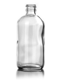 8 oz CLEAR glass boston round bottle with 24-410 neck finish with Black Pump