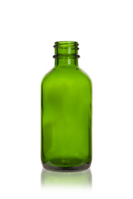 2 oz Green Boston Round Glass Bottle  with 20-400 neck finish
