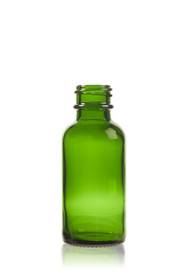 1 oz Green Boston Round Glass Bottle  with 20-400 neck finish