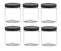 12 oz Clear Plastic Jar Straight Sided w/ Plastic Lined Caps - set of 6