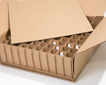 Corrugated Box with 100 Dividers (Fits 100 - 1 oz. Boston Round Bottles) - MOQ 90