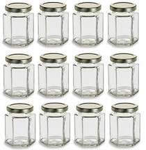 Hexagon Glass Jars, 6 oz with Gold Lid - Pack of 12