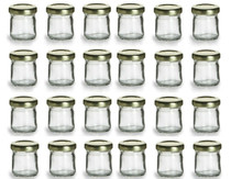 1 Ounce Mini Glass Honey Jars for Jam, Honey with Gold Lid - Pack of 24