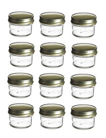 4 oz Mason Glass Jars for  Jam, Honey, Pie with Gold Lid - Pack of 12