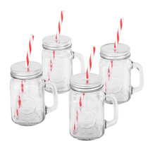 Mason Jar Mugs with Handle, Tin Lid and Plastic Straws. 16 Oz. Each. Old Fashion Drinking Glasses