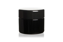 30 ml (1 fl oz) Medium Capacity Travel Size Black Ultraviolet Glass Screw Top Jar | Airtight Smell Proof Stash Container