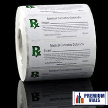 1000 pcs, Colorado Medical Cannabis Strain Labels ROLL State Compliant  Labels