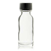 1/2 oz (15ml) CLEAR Boston Round Glass Bottle - w/ Poly Seal Cone Cap