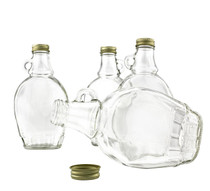 8 Ounce, 12 Pack, Empty Glass Maple Syrup Bottles with Gold Metal Lids
