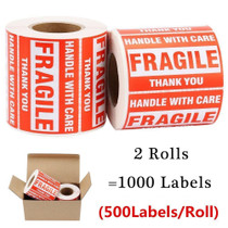 """ZiKON, 2 Rolls Fragile Tapes - 2""""x3"""" Handle With Care Stickers Thank You Shipping Labels - 1000 Labels"""