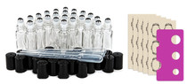24 pcs, 10ml Clear Glass Roller Bottles with Stainless Steel Roller Ball for Essential Oil -  (24pc Clear Set)