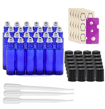 24 pcs, 10ml Cobalt Blue Glass Roller Bottles with Stainless Steel Roller Ball for Essential Oil