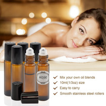 6 pcs, 10ml Amber Glass Roller Bottles with Stainless Steel Roller Ball for Essential Oil