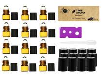12pcs, Amber, 1 ml (1/4 dram) Glass Roll-on Bottles with Stainless Steel Roller Balls