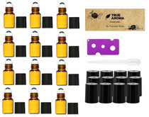 12pcs, Amber, 3 ml Glass Roll-on Bottles with Stainless Steel Roller Balls