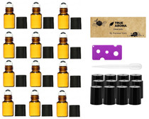 12pcs, Amber, 2 ml Glass Roll-on Bottles with Stainless Steel Roller Balls - 1 Dropper and 1 Opener included, Refillable Aromatherapy Essential Oil Roll On