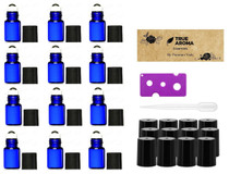 12 pcs, Cobalt Blue, 2ml Glass Roll-on Bottles with Stainless Steel Roller Balls