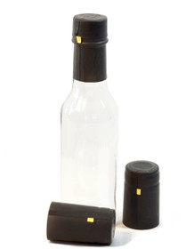 Black Shrink Capsules for Glass Woozy Hot Sauce & Wine Bottles - Pack 30
