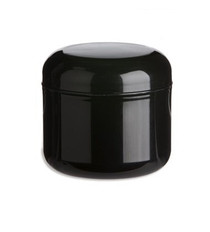 1/2 oz Black  PP/PS double wall round base jar with 48-400 neck finish w/ Black PP 53-400 unlined dome lid