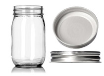 12 oz clear glass Mason jar with SILVER metal with plastisol liner  - pack of 12