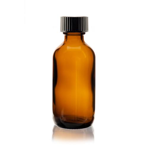 2 Oz Amber Boston Round Glass Bottle W Poly Seal Cone Cap