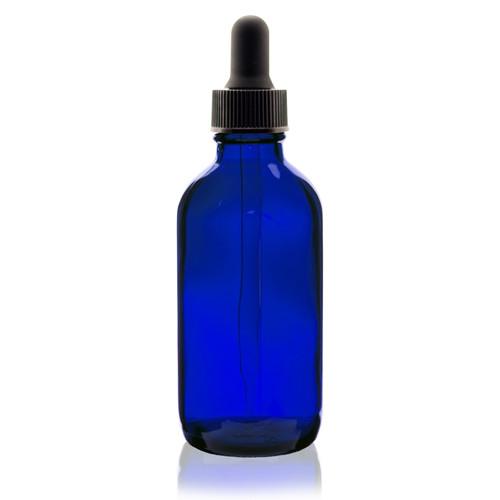4 Oz Cobalt Blue Boston Round Glass Bottle W Glass Dropper