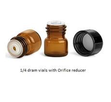 1/4 Dram Amber Glass Vial - w/Orifice Reducer & Black Cap