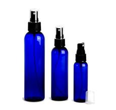 8 oz Cobalt Blue PET Cosmo Plastic Bottle w/ Black Atomizer