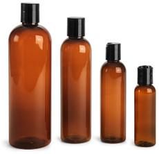 8 oz Amber PET Cosmo Plastic Bottle w/ Black Disc Cap