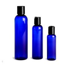 8 oz Cobalt Blue PET Cosmo Plastic Bottle w/ Black Disc Cap