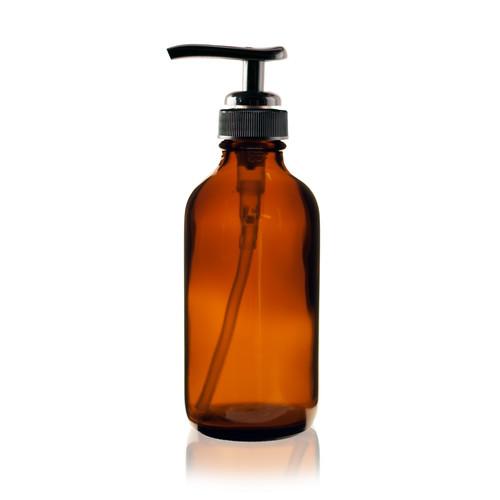 4 Oz Amber Boston Round Glass Bottle 24 410 W Black Pump