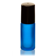 1/6 oz (5ml) Frosted Blue Glass Roll-on Bottle