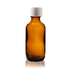 2 oz AMBER Boston Round Glass Bottle w/ Child Resistant Cap