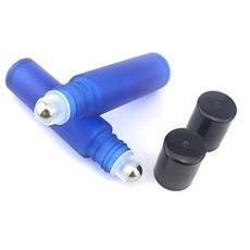 1/3 oz (10ml) Frosted Blue Glass Roll on Bottles with Metal Ball