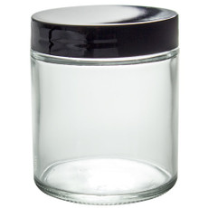 9 oz CLEAR GLASS Jar Straight Sided w/ Black Plastic Lined Cap - pack of 12
