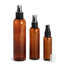 2 oz AMBER Plastic PET Cosmo Bullet Bottle w/ Black Fine Mist Sprayer