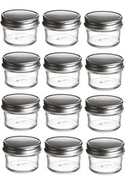 4 oz Mason Glass Jars for  Jam, Honey, Pie with Silver Lid - Pack of 12