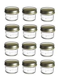 4 oz Mason Glass Jars for Jam, Honey, Pie with Gold Lid