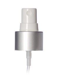 Matte silver metal shell and white PP smooth skirt fine-mist fingertip sprayer with clear overcap, 6.875 inch dip tube and 24-410 neck finish (.16 cc output)