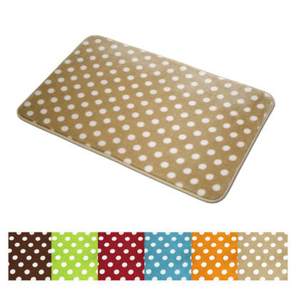 Bathroom Mat Polka Dots Microfiber Soft Plush Lightweight