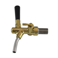 Euro Flow Control, Polished Brass, Gold plated, Flow Control, Self Closing, S/S Spout, with Shank